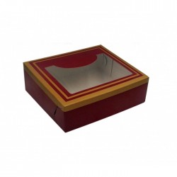 Κουτί μνημοσύνου χάρτινο με παράθυρο μπορντό 15x13x4 cm 10 κιλά