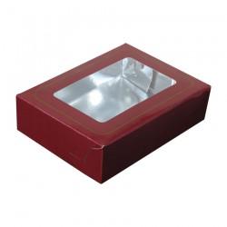 Κουτί μνημοσύνου χάρτινο με παράθυρο σε μπορντό χρώμα 17x12x4.5 cm 10 κιλά